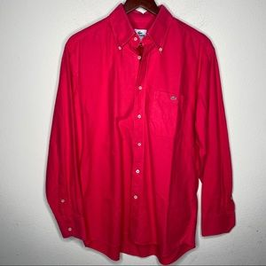 Lacoste Red long sleeve button down dress shirt